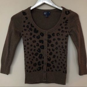 American Eagle Outfitters Leopard Cardigan